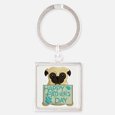Father's Day Pug Square Keychains