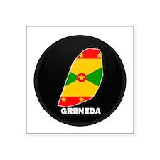 "Cute Grenadian map Square Sticker 3"" x 3"""