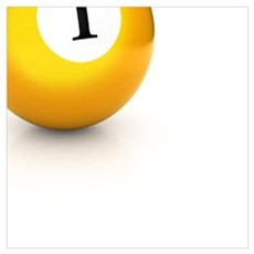 yellow pool billiard ball number 1 one Poster