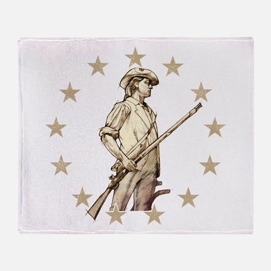 Concord Minuteman Drawing Throw Blanket