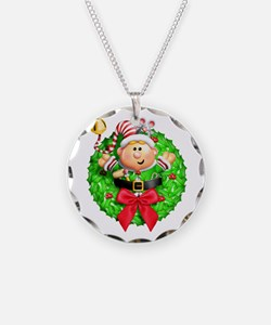 Santa's Elf Wreath Necklace Circle Charm
