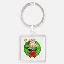 Santa's Elf Wreath Square Keychain