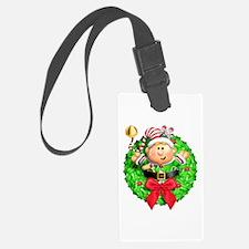 Santa's Elf Wreath Luggage Tag