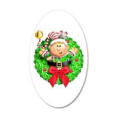 Santa's Elf Wreath Wall Decal