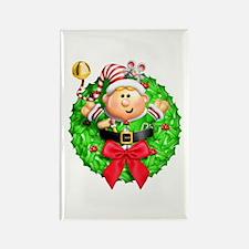 Santa's Elf Wreath Rectangle Magnet