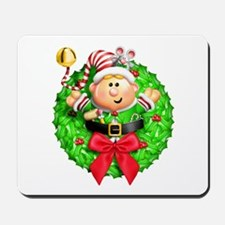 Santa's Elf Wreath Mousepad