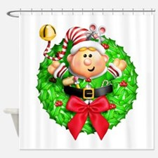Santa's Elf Wreath Shower Curtain