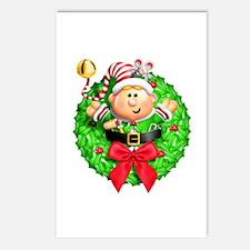 Santa's Elf Wreath Postcards (Package of 8)