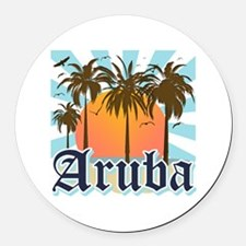 Aruba Caribbean Island Round Car Magnet