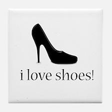 i love black high heel shoes Tile Coaster