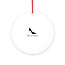 i love black high heel shoes Round Ornament