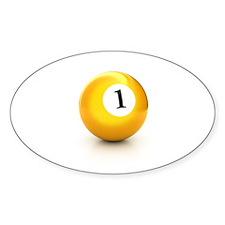 yellow pool billiard ball number 1 one Decal