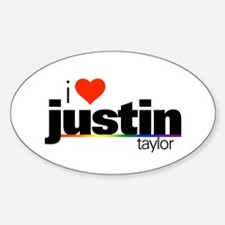 I Heart Justin Taylor Oval Decal