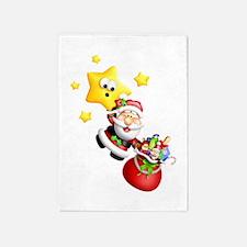Santa Descending From the Stars 5'x7'Area Rug