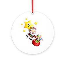 Santa Descending From the Stars Ornament (Round)