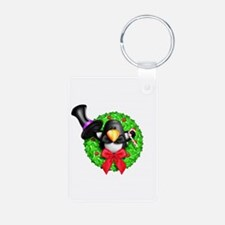 Penguin in a Top Hat Wreat Aluminum Photo Keychain