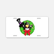 Penguin in a Top Hat Wreath Aluminum License Plate