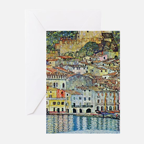 Malcesine on Lake Garda by Gustav K Greeting Cards