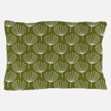Abstract Dandelions on Green Backgroun Pillow Case