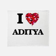 I Love Aditya Throw Blanket