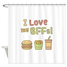 I love my BFFs Food Doodle Humor Shower Curtain