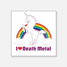 "Cute Unicorn love Square Sticker 3"" x 3"""