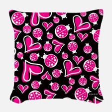 Hearts & Ladybugs Woven Throw Pillow