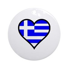 Greek Heart Round Ornament