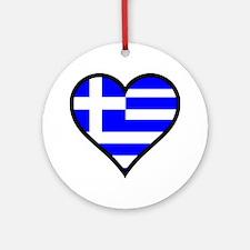 Greek Heart Round Ornament