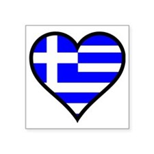 "Greek Heart Square Sticker 3"" x 3"""