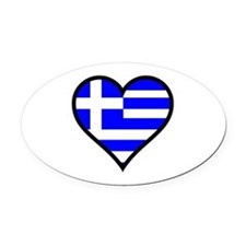 Greek Heart Oval Car Magnet