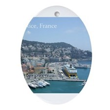 Nice harbor, South of France Ornament (Oval)