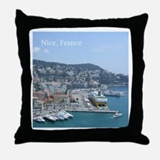 Nice harbor, South of France Throw Pillow