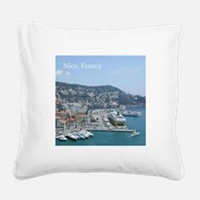 Nice harbor, South of France Square Canvas Pillow