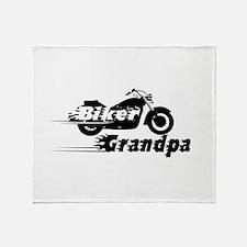 Biker Grandpa Throw Blanket
