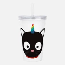 Unicorn Cat with rainb Acrylic Double-wall Tumbler
