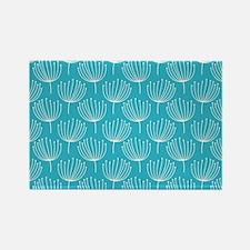 Abstract Dandelions on Crisp Blue Rectangle Magnet