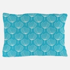 Abstract Dandelions on Crisp Blue Back Pillow Case