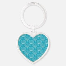 Abstract Dandelions on Crisp Blue B Heart Keychain