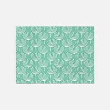 Abstract Dandelions on Pastel Aqua 5'x7'Area Rug