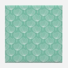 Abstract Dandelions on Pastel Aqua Tile Coaster