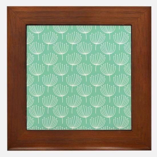 Abstract Dandelions on Pastel Aqua Framed Tile