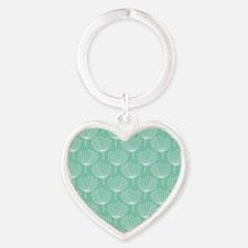 Abstract Dandelions on Pastel Aqua Heart Keychain