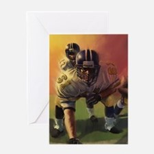 Football Players Painting Greeting Cards