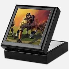 Football Players Painting Keepsake Box