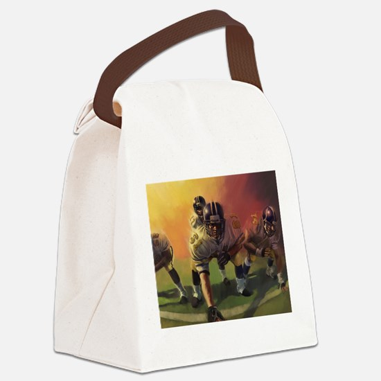 Football Players Painting Canvas Lunch Bag