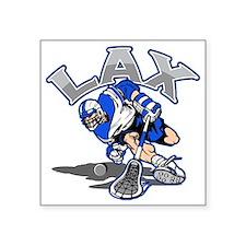 "Lacrosse Player In Blue Square Sticker 3"" x 3"""