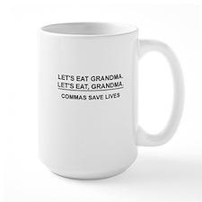 LET'S EAT, GRANDMA. COMMAS SAVE LIVES Mugs