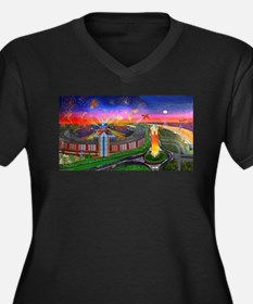 Jones Beach Theatre with Firewor Plus Size T-Shirt