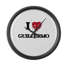 I Love Guillermo Large Wall Clock